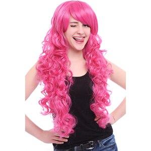 Image 2 - L e mail perücke Marke Neue 80cm Rosa Cosplay Perücken Little Pony Wärme Beständig Synthetische Haar Perucas Cosplay Perücke