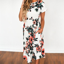 New Beach Style Summer Dress Plus Size Black Blue White Women Print Floral Maxi Dresses Vestidos Pockets Long