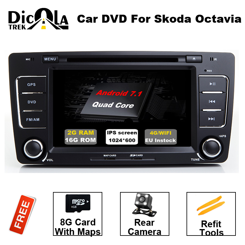 Car 2 din Octavia Android 7.1 7 inch CAR DVD for Skoda Octavia 2 A5 2006-2012 with 2G+16G wifi CANBUS Octavia2 DAB+ OBD 1z 2 skoda octavia a5 connecting rod for skoda octavia a 5 2 octavia a7 a 7 laura skoda 1u mk2 engine tuning racing parts race