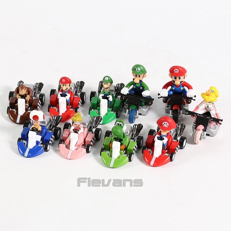 Super Mario Pull Back Kart 7 Styles PVC Donkey Kong Luigi Toad Yoshi Kids Toys