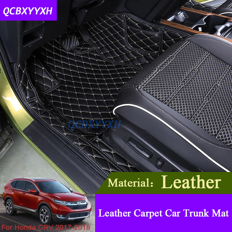 car floor mat for honda crv cr v 2017 2018 3d leather all leather tray carpet cargo liner custom. Black Bedroom Furniture Sets. Home Design Ideas