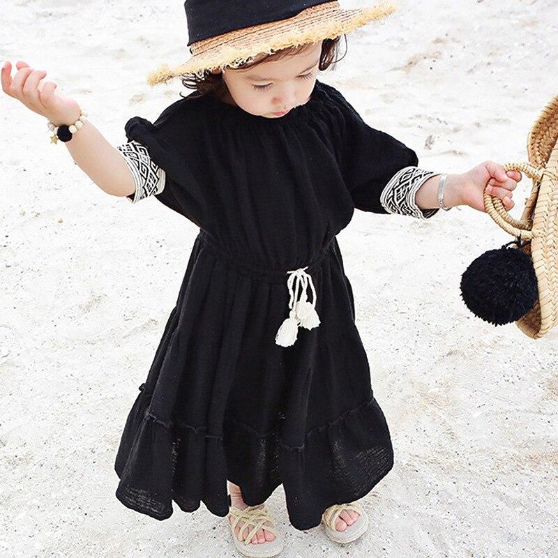 off shoulder girls princess dress Bohemian girls clothes summer spring 2017 cotton linen beige black maxi holiday kids dress g2 chic women s bohemian summer maxi dress