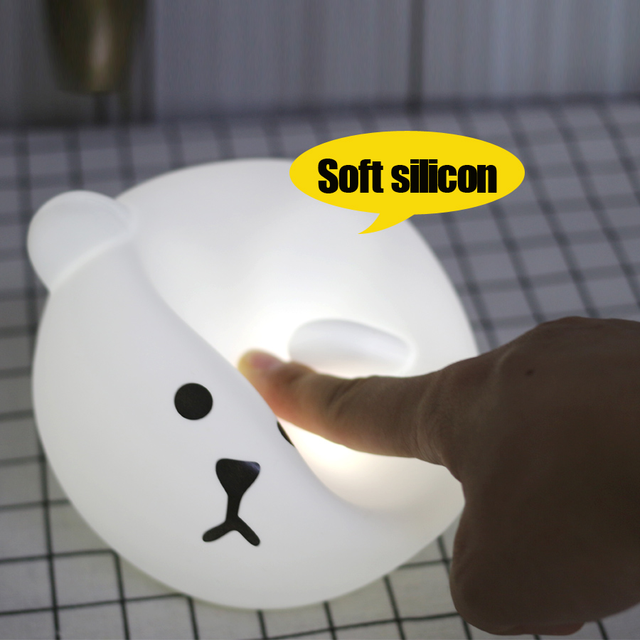 Touch Silicone Led Night Light USB Rechargeable Baby Children Kids Gift Cartoon Bear Lamp Bedside Bedroom Living Room