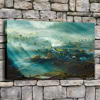 Cuadros en lienzo para pared de salón, 1 pieza, Luz del bosque, Bali, sol, pintura natural, impresiones de decoración del hogar, póster abstracto enmarcado