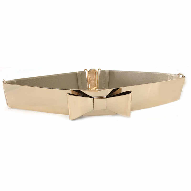 cc792b7c2 ... Seabigtoo Bow Gold Plate metal elastic belts for women ladies belts  female nude belts waist chain ...