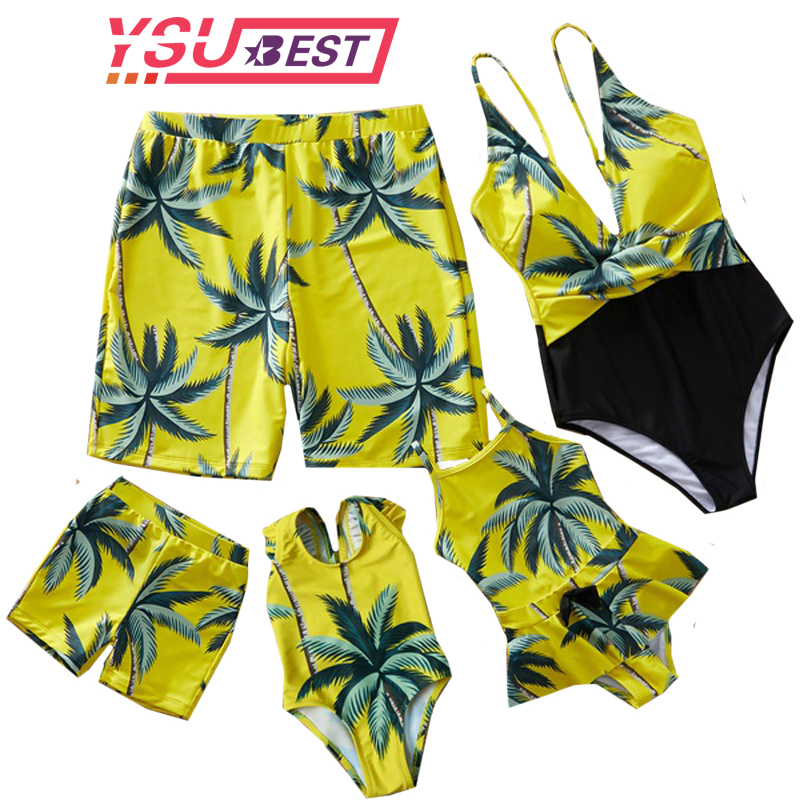 New Family Look Mother Daughter Bikini Swimsuits Mommy Dad And Me Matching Clothes Father Son Swimwear Shorts Beach Leaf Outfits