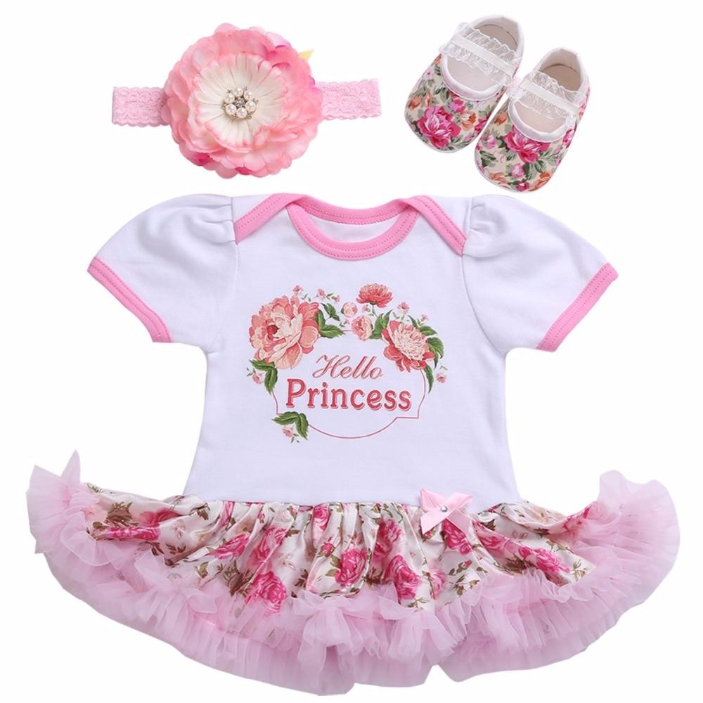 Boutique Newborn Baby Girl Clothes Shoe Headband Set ...