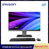 IPASON all in one computer 23.8 inch office desktop /9th Gen i5-9400 8G RAM 480GSSD/WiFi/wireless mouse and keyboard/business PC