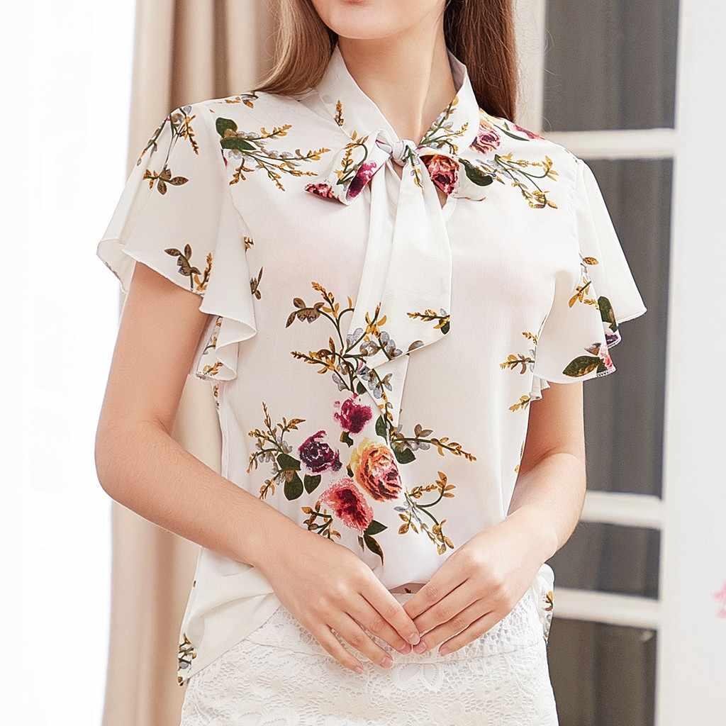 بلوزة عصرية المرأة عادية الشيفون قميص كشكش كم قميص الصيف بلايز المرأة البيضاء بلوزة عصرية أنيقة حجم كبير