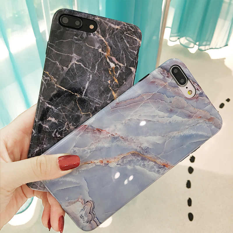 Marble Case on For Coque iphone 7 XS MAX Case Soft TPU Back Cover For iphone 6 6S 7 8 Plus 7Plus 8Plus iphone X S XR Glossy Case