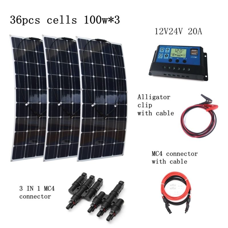3*100W Solar Panels+12V/24V 10A Solar Charge Controller with Quick Connectors and Extended Cables Houseuse 300W Solar System