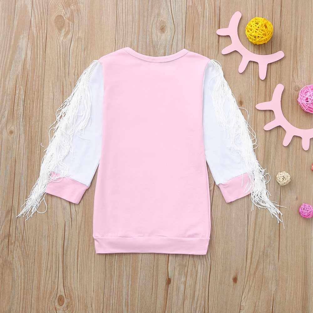 MUQGEW/Лидер продаж, осенне-зимнее платье для маленьких девочек, платье с длинными рукавами и рисунком лошади, платья принцессы с кисточками, одежда, 2 цвета