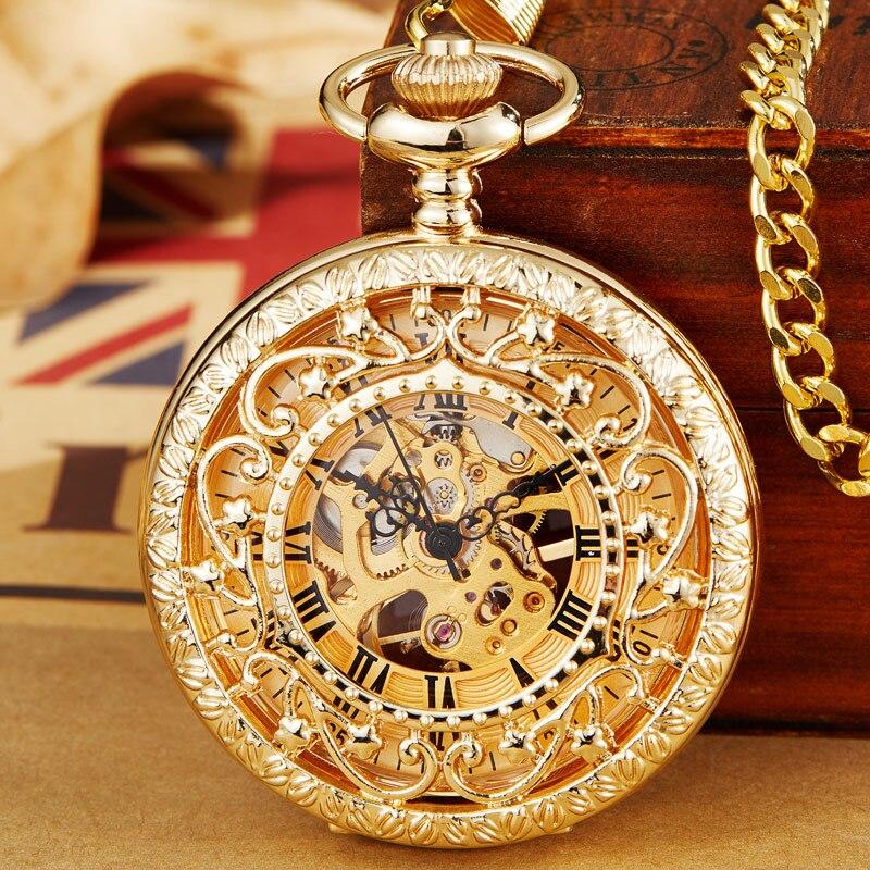 Antique Gold Mechanical Pocket Watch With Chain Steampunk Skeleton Hollow Hand-winding Pendant Clock Men Women Gold Bronze Gift