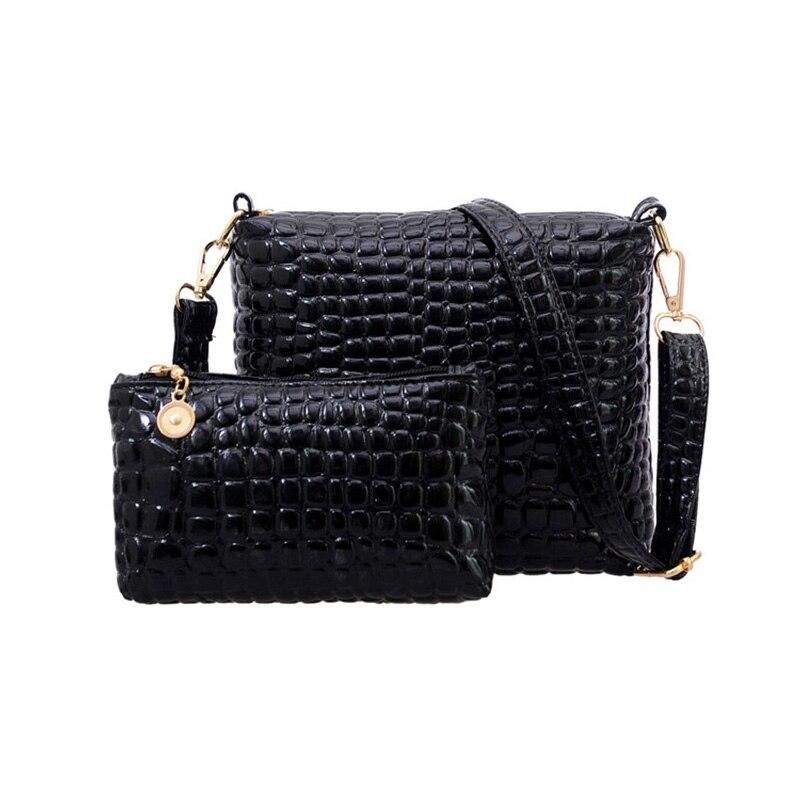 Hot! 2PCS Bag Set Messenger Shoulder Bag Crocodile PU Leather Casual Crossbody Q