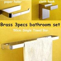 Brass Bathroom set 3pecs set Brass paper holder Brass cloth hook 50cm single towel bar Free shipping wholesales