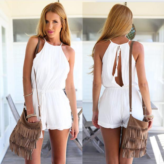 Images of White Short Romper Jumpsuit - Reikian