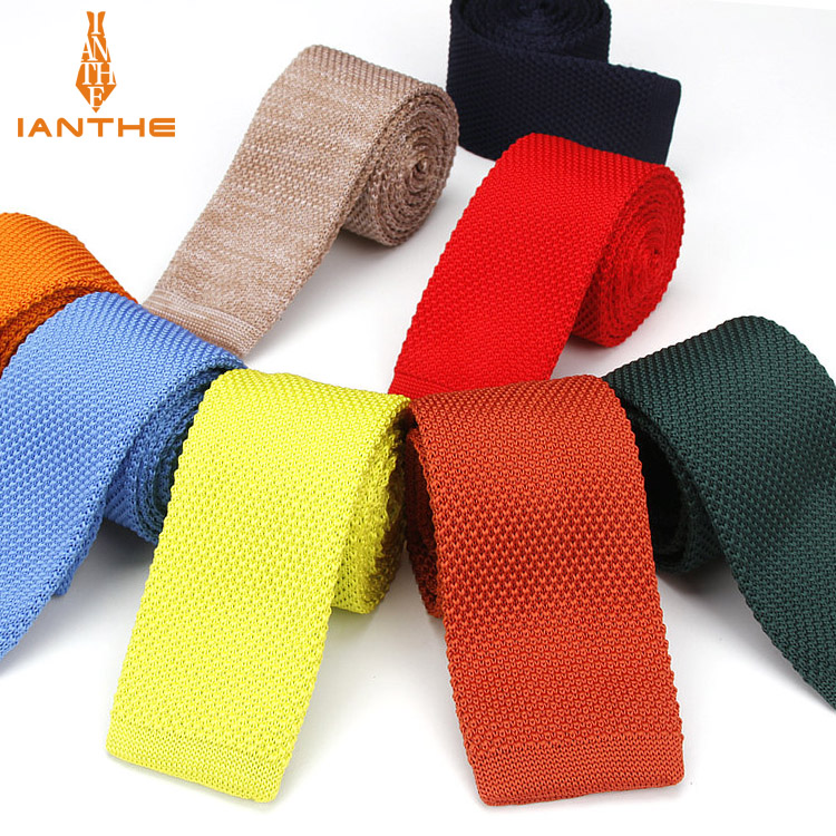 Ianthe Fashion Burgundy Neck Tie Wedding Knitted Ties For Men Skinny Ties Man Gravata Polyester Narrow Knitted Neckties Navy
