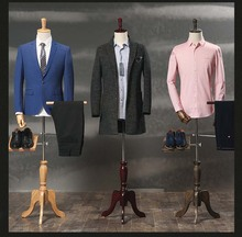 Male props half-length mannequin formal dress suit display mannequin men fabric mannequin with wooden arms and shoes pants racks