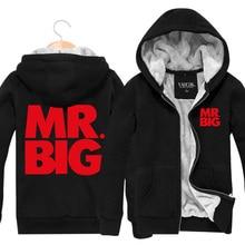 New 2015 Mr Big Rock Band Black Sweatshirt Hoodies Men Brand Famous Hip Hop Casual Cardigan Thickening Plus Velvet Jacket Winter