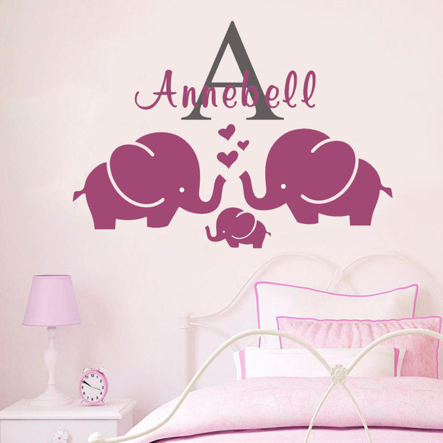 D Personalise Custom Name Wall Stickers Elephant I Kids - Custom removable vinyl decals