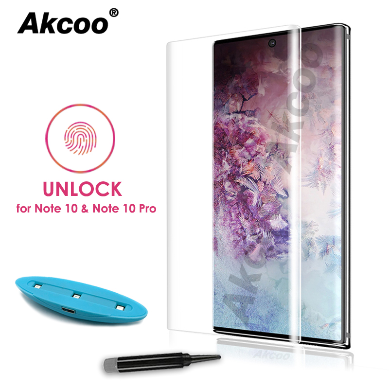 Akcoo Screen-Protector 5g-Glass-Film FINGERPRINT UNLOCK Samsung Galaxy Note-10 S10-Plus