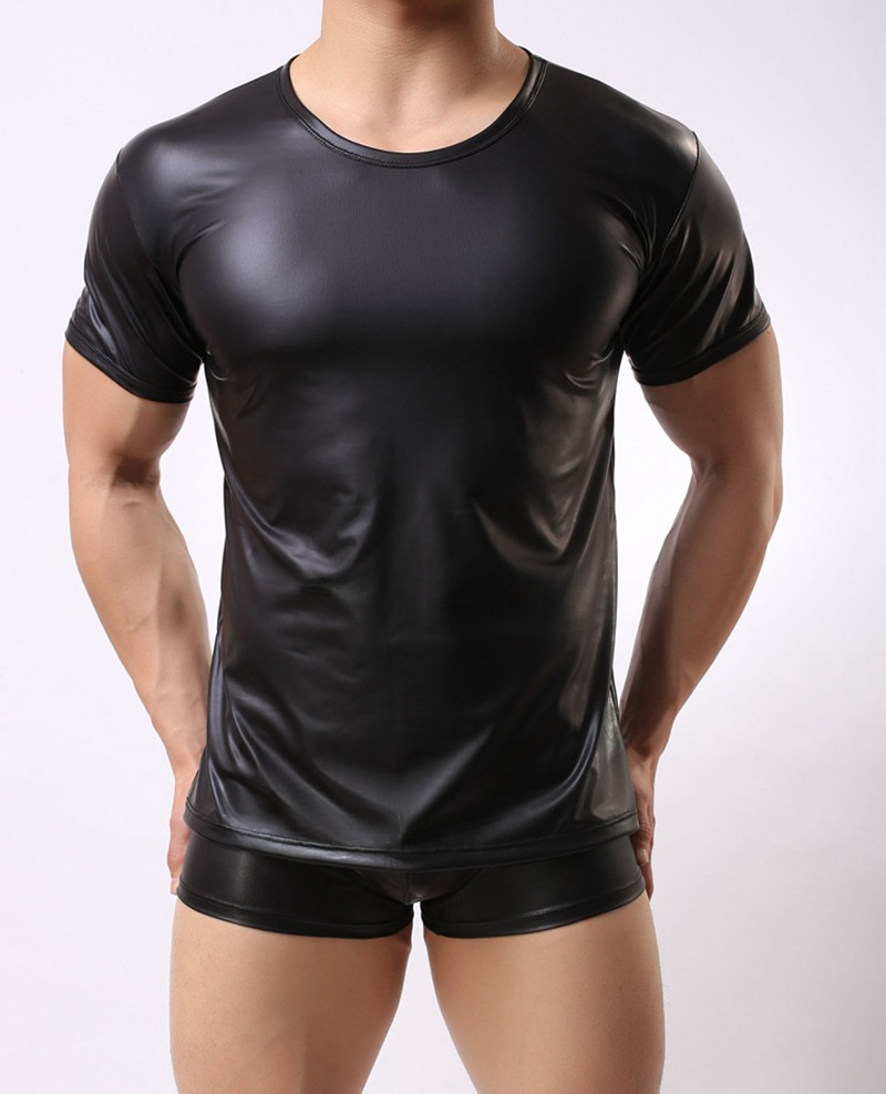2017 Sexy Men's Fun Patent Leather Black T-Shirt Tops Tees Men Wet Look Fetish Latex DS Nightclub Catsuit Exotic PVC T Shirts