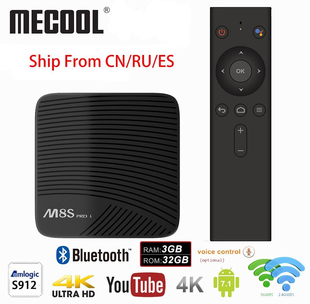 Mecool M8S PRO L 4K TV Box Amlogic S912 Bluetooth Android 7.1 3G RAM Smart Set Top Box Voice Remote Control H.265 Media Player