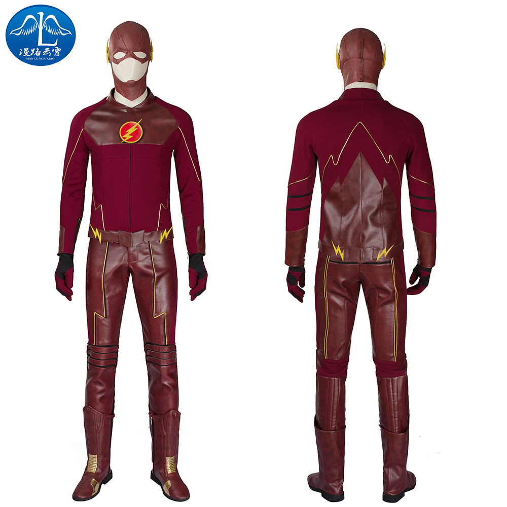ManLuYunXiao The Flash Season II Flash Cosplay Costume Men's Full Set With Boot Cosplay Halloween Cosplay For Men Custom Made