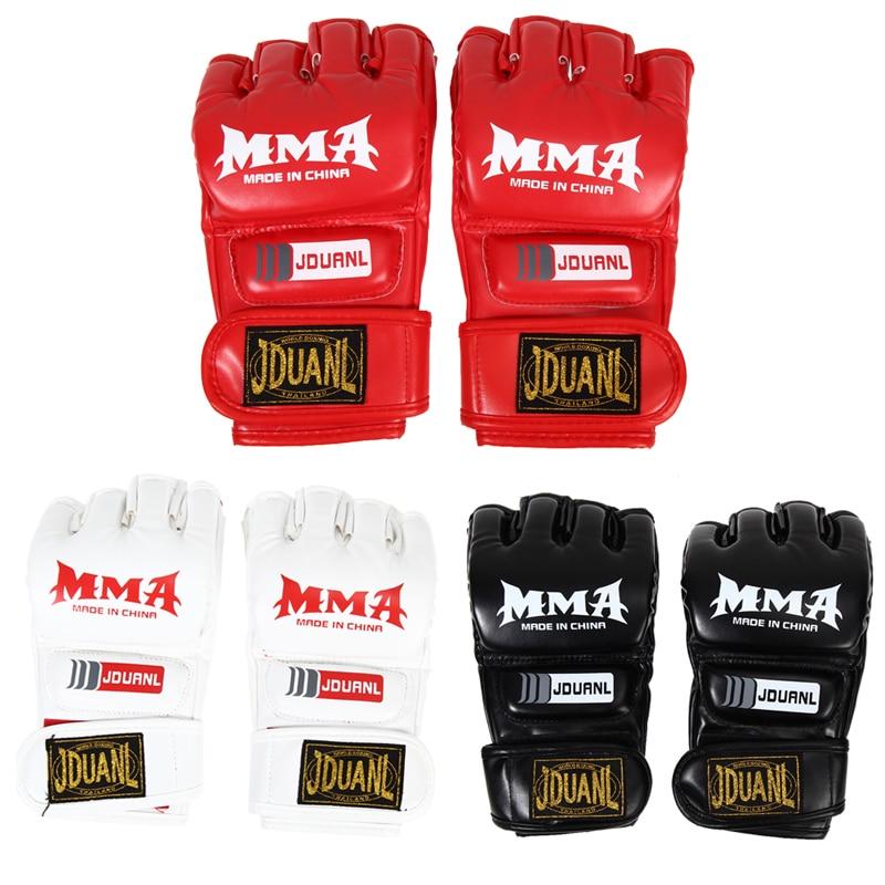 Halbfingerhandschuhe MMA Adult Halbfinger Boxhandschuhe PU MMA Handschuhe Fighting Sandbag Glove Fäustlinge Guantes Sanda Training Sport