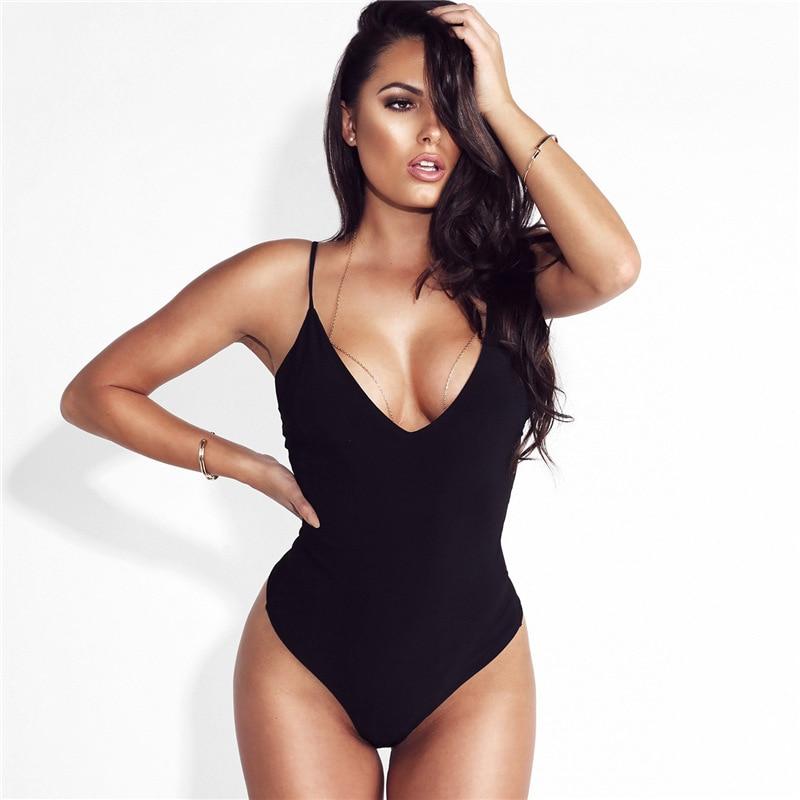 Sexy Plunge V Neck Bodysuit Summer Romper Strap Bodysuit For Women Jumpsuit Thong Bodysuit Overall
