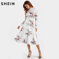 SHEIN Floral Crushed Velvet Elegant Fitted And Flared Dress Womens White Band Collar Long Sleeve A