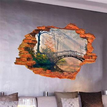 forest tree bridge through the wall stickers