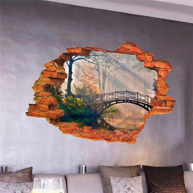 forest tree bridge through the wall stickers room decoration 8024G. home decal pvc pastoral mural art natural scenery poster 3.0