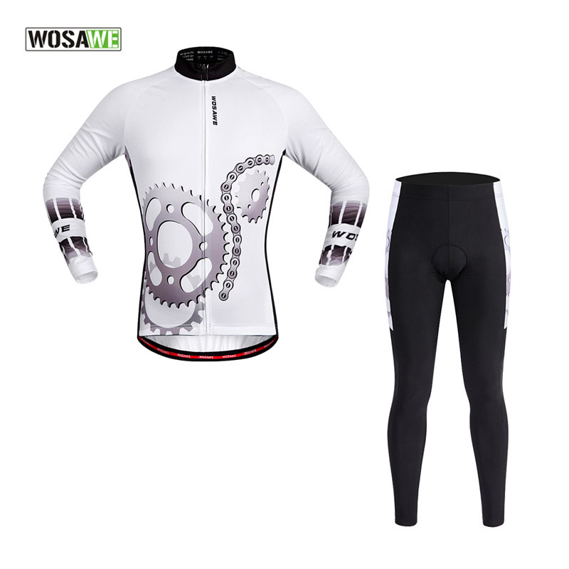 WOSAWE Men Long Jersey Sets Cycling Jersey Bicycle Sports Suit Ropa De Ciclismo White Jersey Man 2017 Pro Team Set Gel Pad Pants teleyi team cycling outfits mens ropa ciclismo long sleeve jersey bib pants kits bicycle jacket trousers set red black