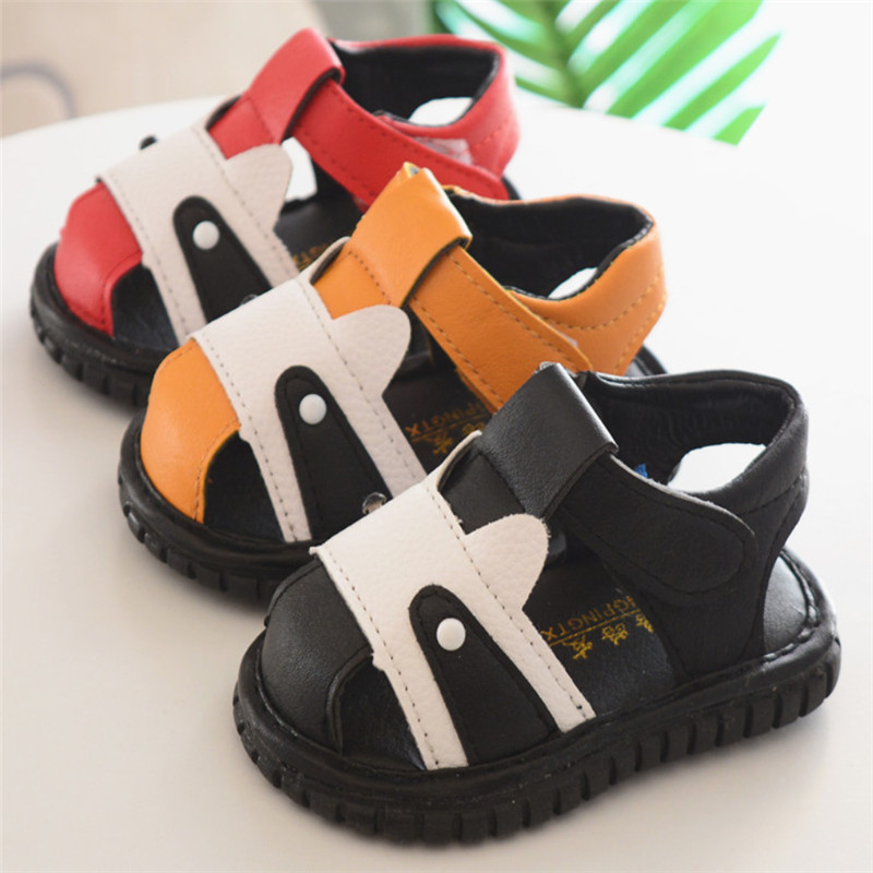 Baby Cow Shoes Children Whistle Shoes Toddle Soft Sole Solid Toes Protection Sandals Summer Leather Sandals For Boys Skid Proof