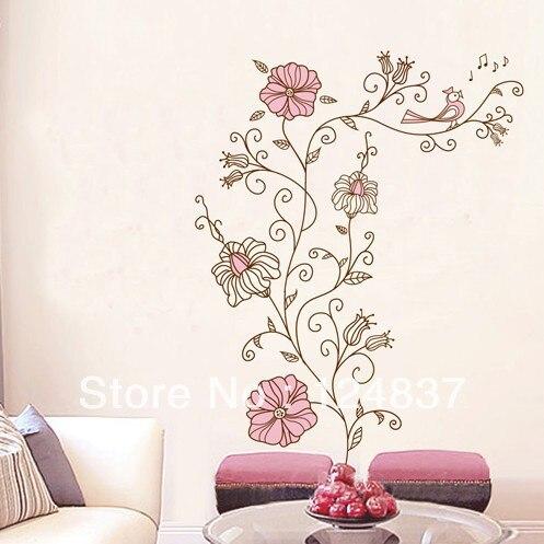 60 cm 90 cm florece la etiqueta engomada vid wallpaper flor