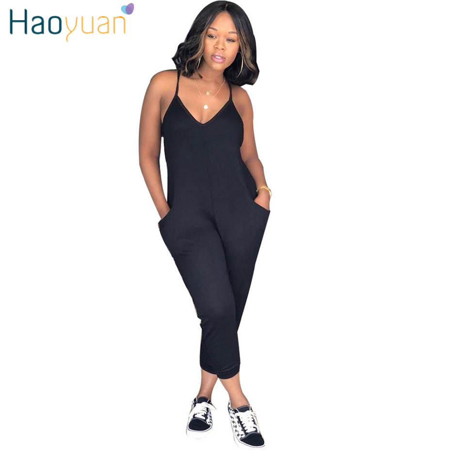 HAOYUAN Plus Size Rompers Womens   Jumpsuit   Summer Overalls Ladies Elegant Spaghetti Strap V Neck One Piece Sexy Bodycon   Jumpsuits