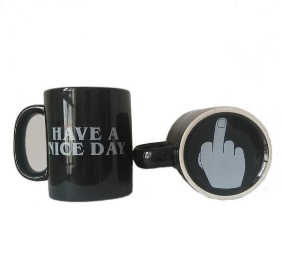 Creative Have a Nice Day Coffee Mug Middle Finger Funny Cup for Coffee Milk Tea Cups Novelty Gifts 10oz 2