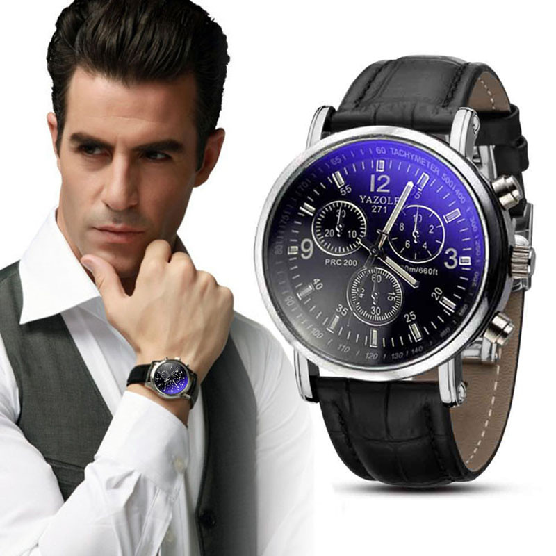 Luxury Brand Men Watches 2018 Fashion Faux Leather Men Blue Ray Glass Quartz Watch Casual Males Business Watch Relogio Masculino