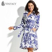 Vintacy المرأة خندق معطف طويل أزرق الأزهار زر الكتفية الخريف الشتاء أزياء 2018 أعلى خمر الإناث الفتيات المرأة خندق معطف