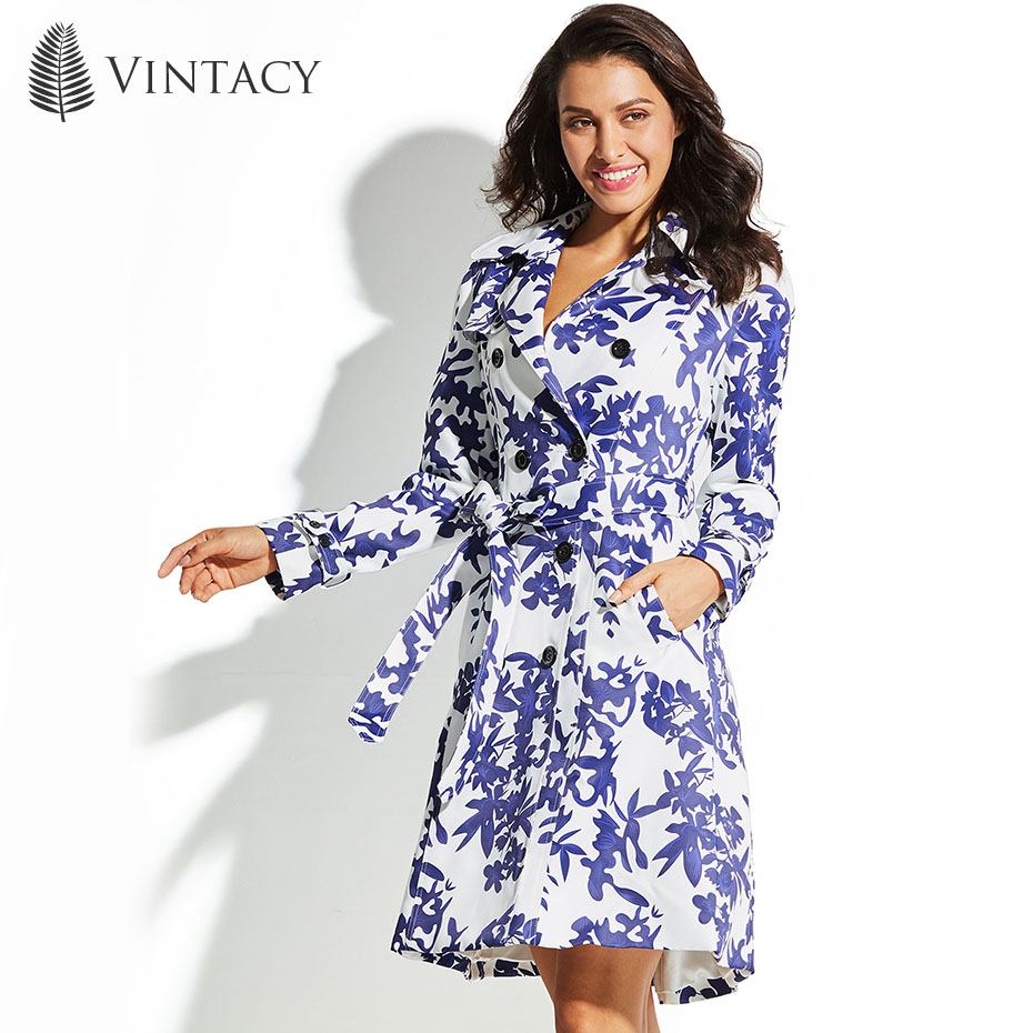 Vintacy Women Trench Coat Long Blue Floral Button Epaulet Autumn Winter Fashion 2018 Top Vintage Female Girls Women Trench Coat