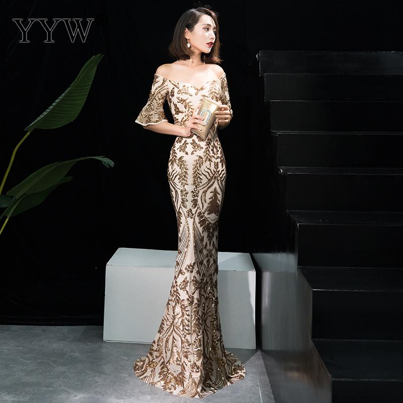 Gold Floral Sequin Off Shoulder Flare Sleeve Luxury Party Dress Women Long Sexy Formal Evening Gowns 2019 Elegant Bodycon Dress