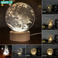 Internal Sculpture 3D Moon Night Light Unicorn Little Prince Table Lamp Abajur LED luminaria Baby Sleeping Nightlight Home Decor
