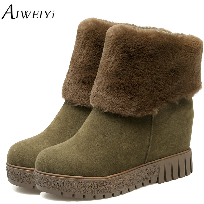 AIWEIYi Women Ankle Boots Female Winter Shoes Woman Fur Warm Snow Boots Fashion Wedge High Heels Ankle Boots Slip On Black Boots winter women snow boots fashion footwear 2017 solid color female ankle boots for women shoes warm comfortable boots