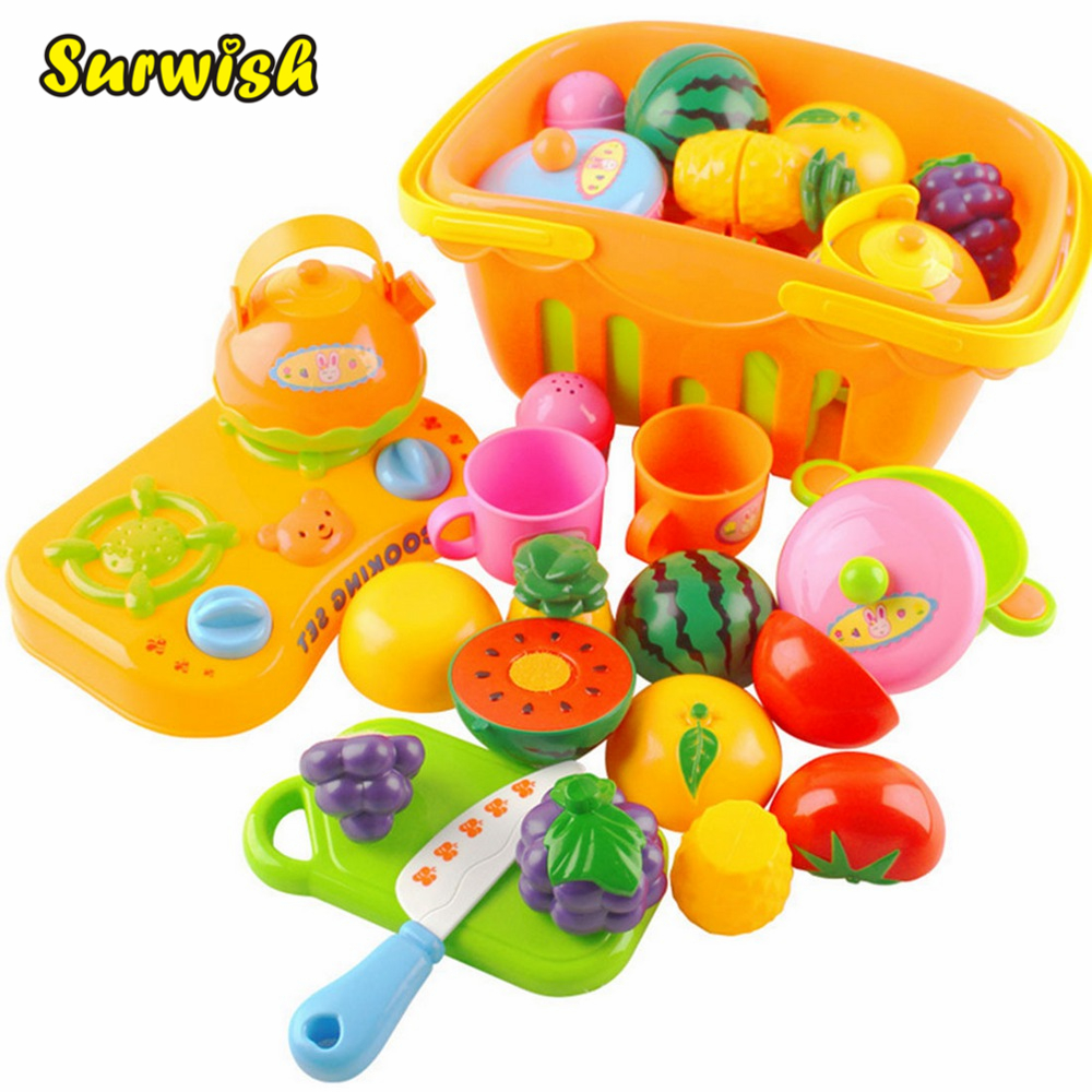 Surwish 13 Pcs/set Plastic Fruit Vegetable Kitchen Cutting Toy Early Development and Education Toys for Baby Kids Children