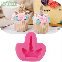 Cake Tool 1 pc Unicorn Horse Ear Silicone Mold Sugarcraft Chocolate Fondant Tool Sugarcraft Mould A1732(China)