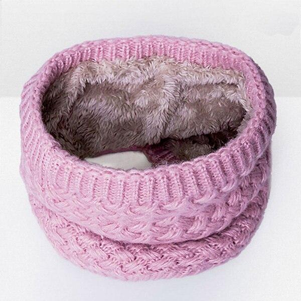 Зимний теплый шарф вельветовый хлопковый шарф на шею для мальчиков и девочек удобный для мужчин и женщин - Цвет: Pink