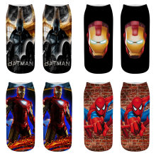 New Arrival Women Superhero Socks Print USA Classical Superman Spider Man Batman Iron Man Sock Cool Ankle Character Woman Socks(China)