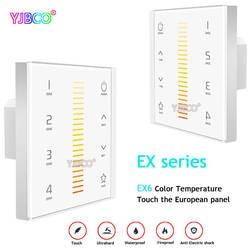 LTECH EX6 настенное крепление Цвет Температура Touch Панель контроллер 4 зональный контроль led диммер; AC100-240V вход; РФ 2,4G + DMX512 сигнала