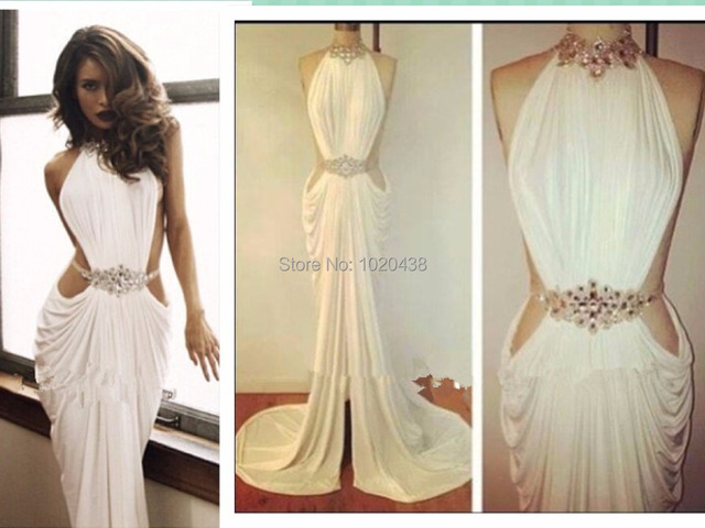 Real Made Sexy vestido de festa Crystal Beaded High Neck White chiffon Long Prom  Dresses fast shipping 2015 evening dress 1ead27449